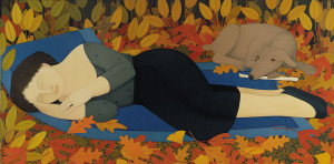 Andrew_Stevovich_oil_painting,_Woman_with_Autumn_Leaves,_1994,_36-_x_72-